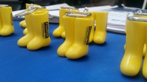A line of yellow wellington boots
